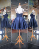 Fashion 2018 Navy Blue Prom Dresses Spaghetti Straps Satin Ball Gown Homecoming Party Gowns
