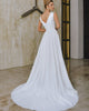 Simple Satin Wedding Dresses Plunge V-Neck Elegant A-line Bridal Gowns with Pockets
