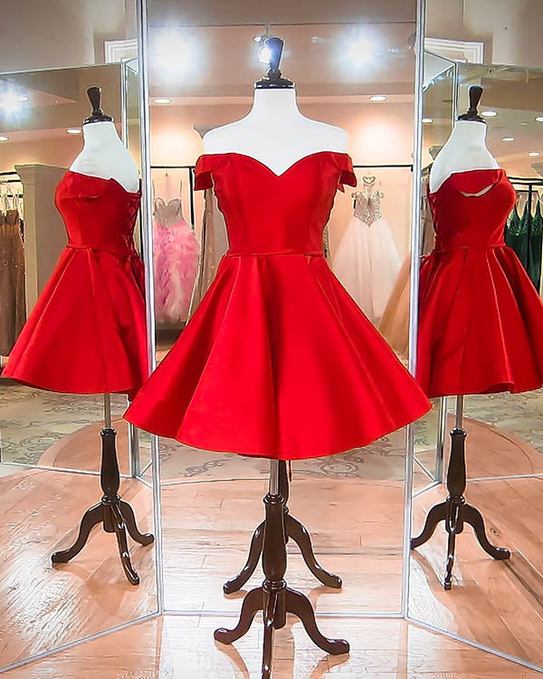 6f8a926d82a 2018 Off The Shoulder Red Satin Short Homecoming Dresses Fashion V-Neck Prom  Party Gowns