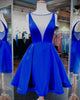 Simple Royal Blue Homecoming Dresses with V Neckline Sexy 2018 Short Prom Party Gowns