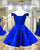 2018 Off The Shoulder Royal Blue Satin Short Homecoming Dresses Fashion V-Neck Graduation Party Gowns