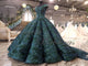 Dark Green Ball Gown Evening Dresses with Cap Sleeves 2018