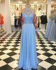 Light Blue 2018 Chiffon A line Prom Dresses with Halter Neckline Beaded Long Prom Gowns