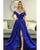 Popular Royal Blue Prom Dresses with Split Side Sexy Off The Shoulder Prom Gowns for Party 2018