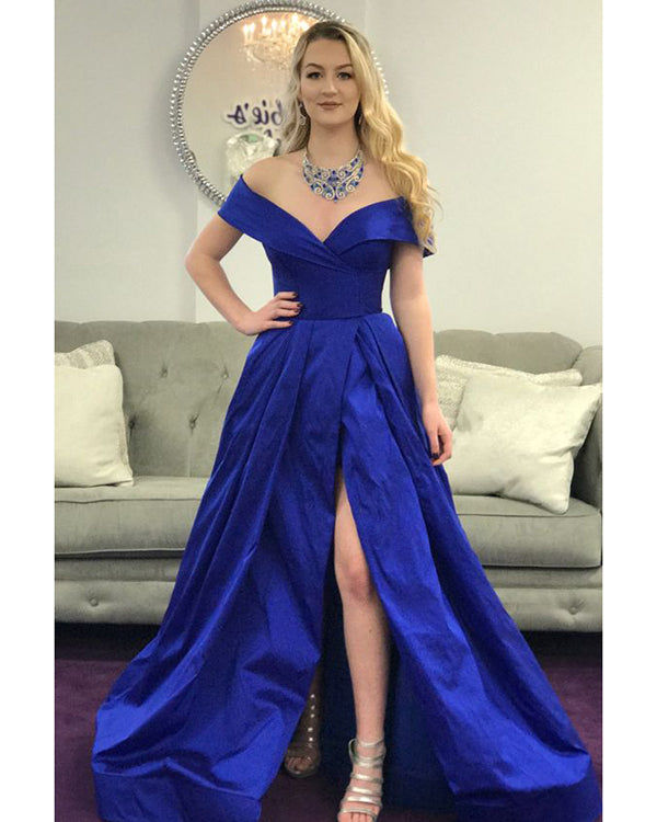 7d260939ca3 Popular Royal Blue Prom Dresses with Split Side Sexy Off The Shoulder Prom  Gowns for Party