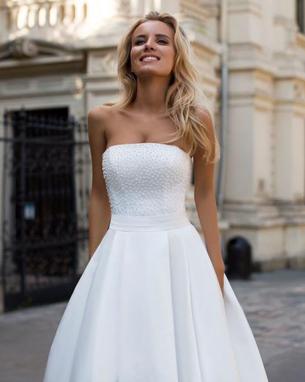 Sexy Strapless A Line Wedding Dresses With Pearls Elegant Satin
