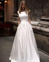 Popular 2018 Satin Wedding Dresses with Belt Scoop Neck Modest A-line Wedding Gowns for Brides