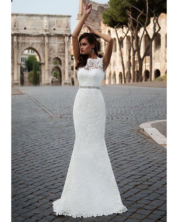 6021ad517b4 Delicate Mermaid Wedding Dresses with Removable Train 2018 Lace Wedding  Gowns with Sash