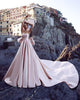Fashion 2018 Pearls Pink Satin Wedding Dresses with Big Bow Modest Sweetheart Bridal Ball Gown Wedding Dress