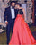 Elegant A line Red Evening Dresses with Black Beadings Satin Long Formal Party Gowns 2018