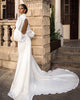 Delicate Satin Wedding Dresses with Full Sleeve Open Back Wedding Gowns with Big Bow
