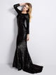 Long Sleeve Black Mermaid Evening Dresses Scoop Neckline Formal Dress