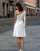 Simple Short Wedding Dresses Knee Length Fashion One Shoulder Beaded Beach Bridal Gowns