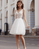 Sexy Short Lace Wedding Dresses V-Neck A-line Tulle Skirt Romantic Beach Bridal Gowns