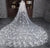 Tulle Wedding Veils with Lace Flowers 3 meters Cathedral Train