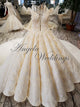 Gorgeous Ivory Ball Gown Wedding Dresses with Flowers Cathedral Train