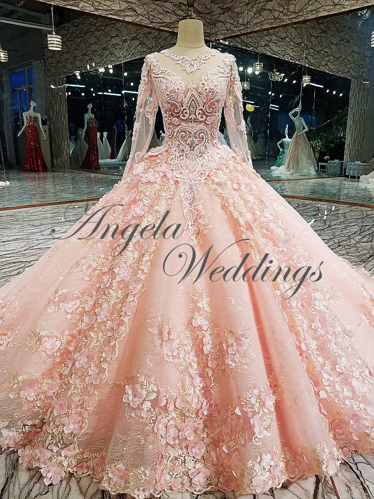 Luxury Pink Lace Long Sleeve Ball Gown Wedding Dress Beaded Flowers ...