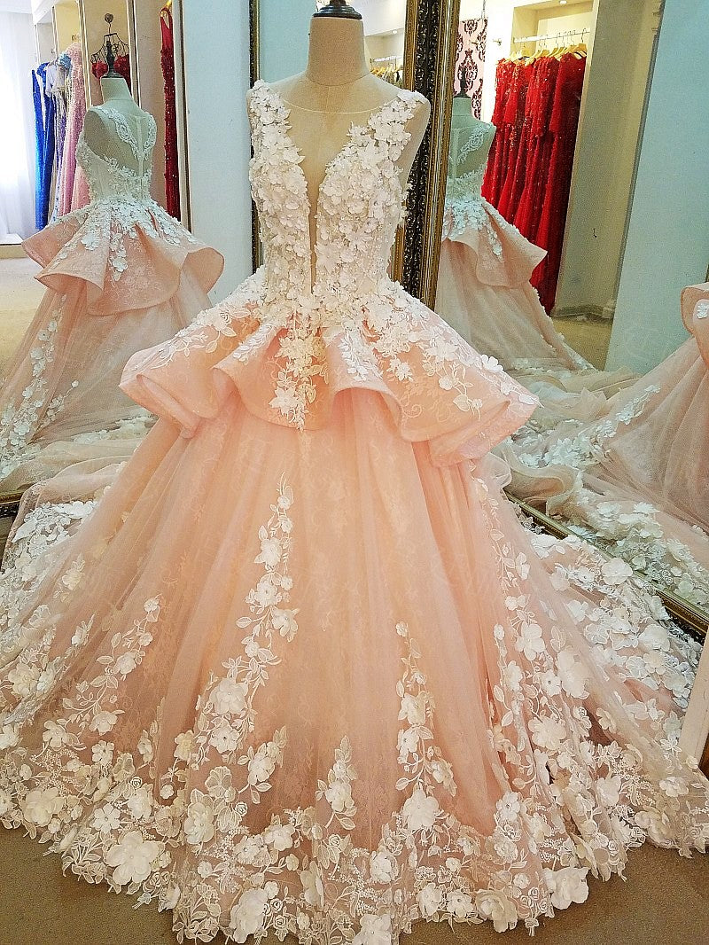 Delicate Coral Pink Ball Gown Lace Wedding Dresses With Flowers: Coral Pink Wedding Dresses At Websimilar.org