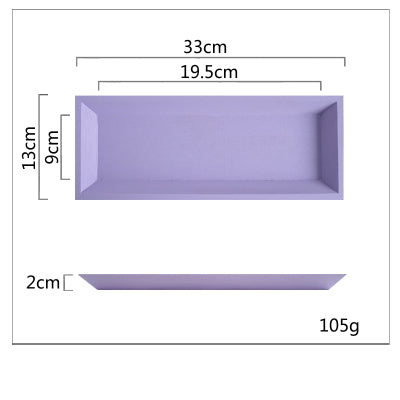 Plateau À Dessert Bois Pastel - Rectangle Violet - Support Gâteau