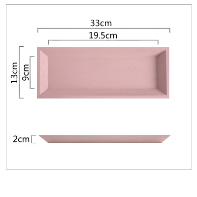 Plateau À Dessert Bois Pastel - Rectangle Rose - Support Gâteau