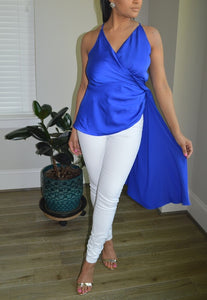 SATIN DRAPE TOP- ROYAL