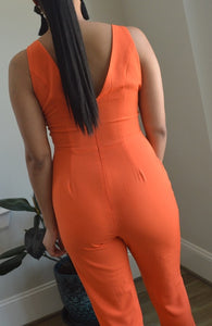 ORANGE KEYHOLE JUMPSUIT