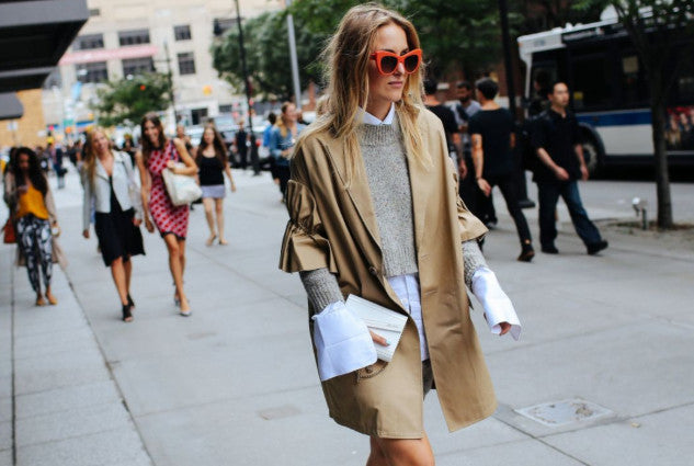 Fashion Long Overcoat in Street