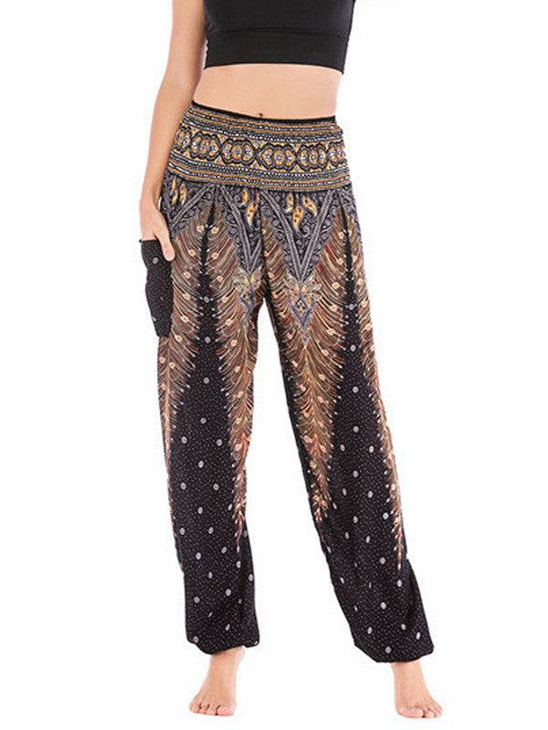 Womens Yoga Pants Floral Loose Elastic
