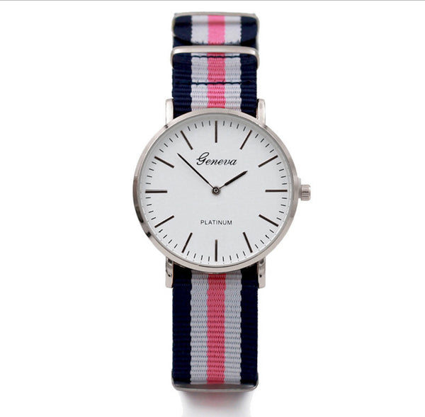 Fashion Geneva Watches Women Men Multicolor Stripe Nylon Fabric wristwatches