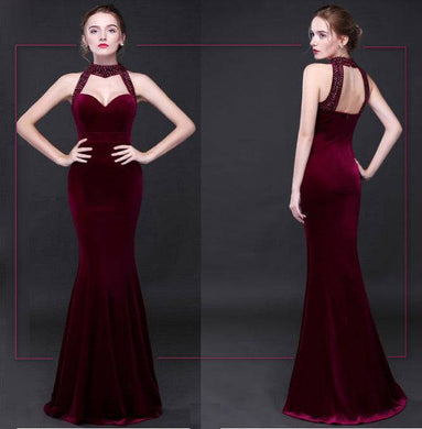 Evening long Dresses Sexy Backless Sequins  high-elastic  Formal Celebrity