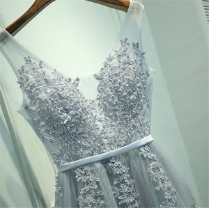 Elegant Embroidery Long Prom Evening Dress