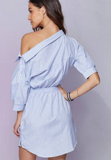 Women's Casual striped dress one shoulder off