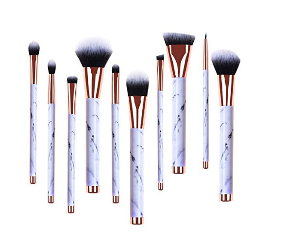 Makeup Brushes Set 10pcs Professional Marble Foundation Highliter Brush