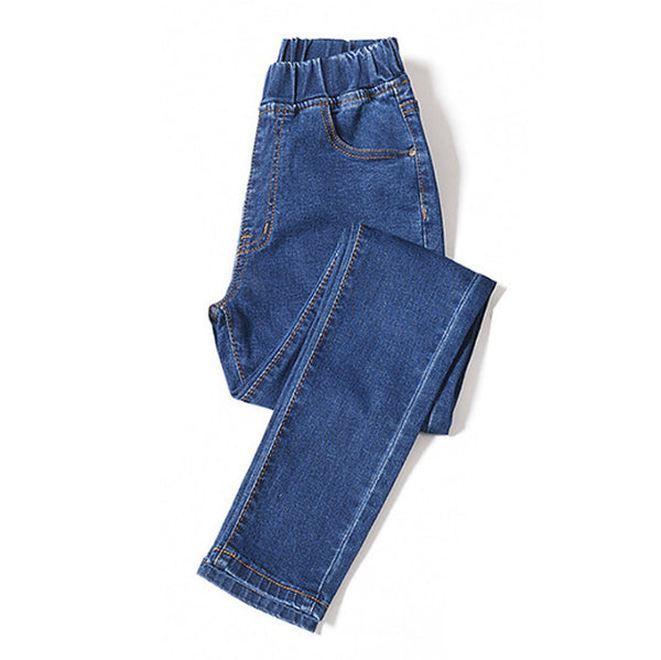 Womens Plus Size Jeans Elastic Waist Stretchy Pants Denim Trousers Bagger