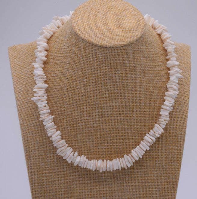 Puka Shell Womens Necklace  Boho Tropical Hawaiian Beach Puka Chips Surfer Choker