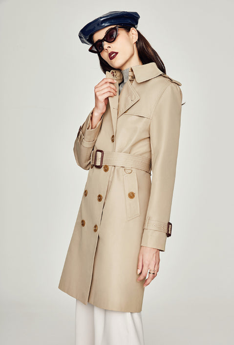 Womens Fashion Cool Trench coat Cotton  Waterproof Parka Coat