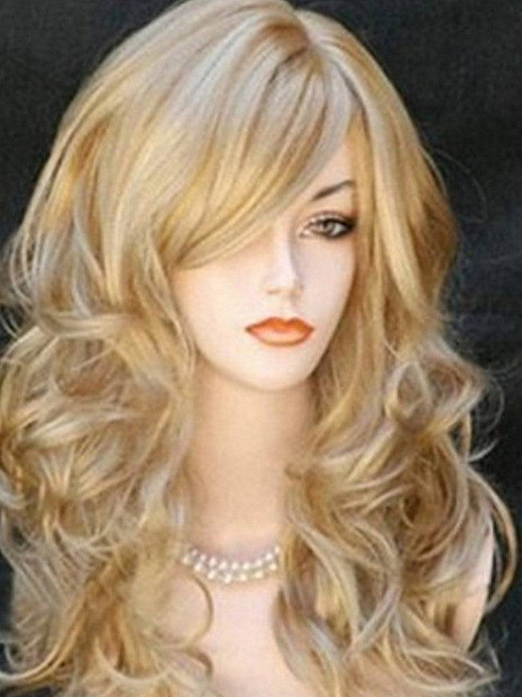 Women Wigs Blonde with Accessories Brazilian Hair Caps Synthetic Wig