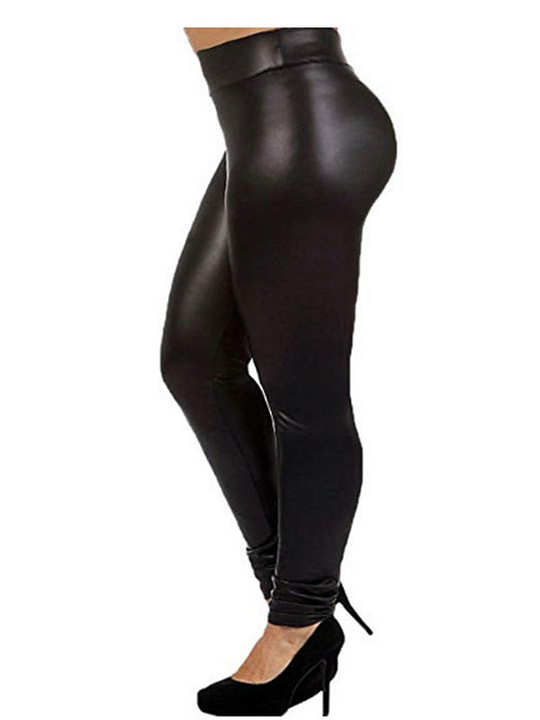 Plus Size Leggings  Faux Leather Lightweight High Waisted for Womens Girls