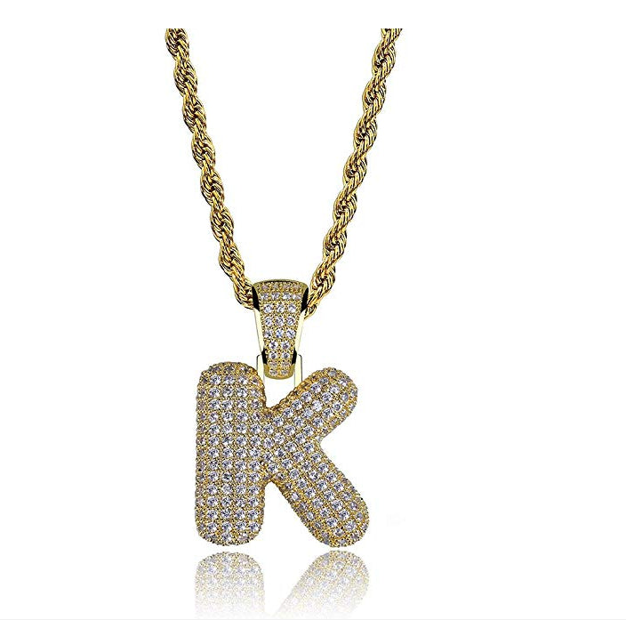 Initial Letter Necklace Pendant Bubble Letter Chain Hip Hop