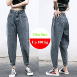Plus Size Jeans Loose Boyfriends Jeans Wide Leg