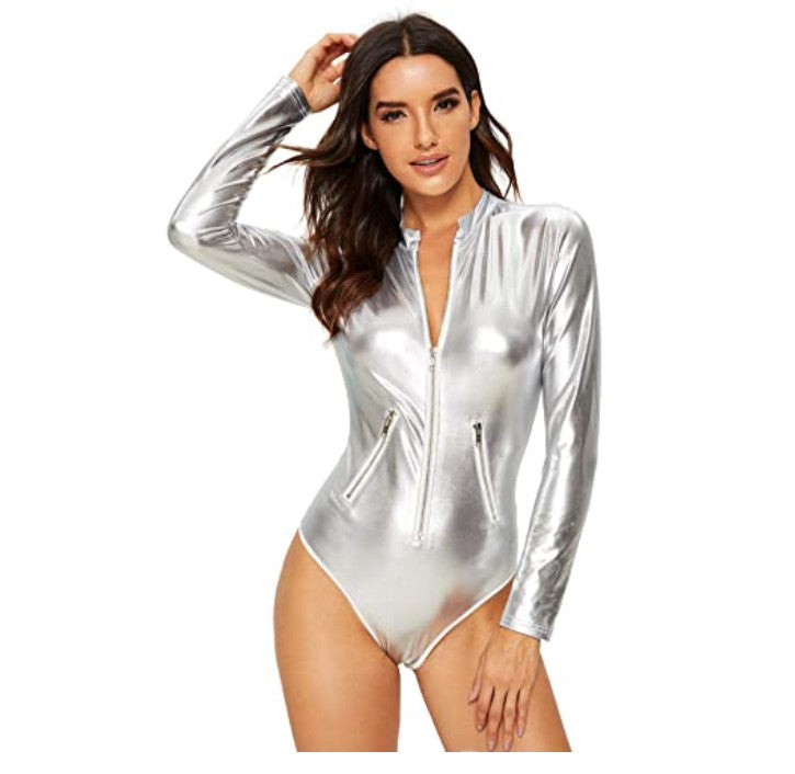 Sexy Casual Party Work Bodysuit with Sleeves Jumpsuit Tops