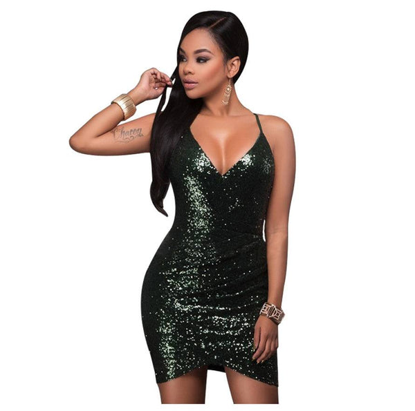 Sequins Dress Off Shoulder Tight Evening mini
