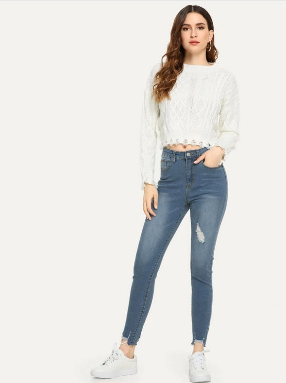 Womens Ripped Jeans Raw Hem Faded Wash Jeans