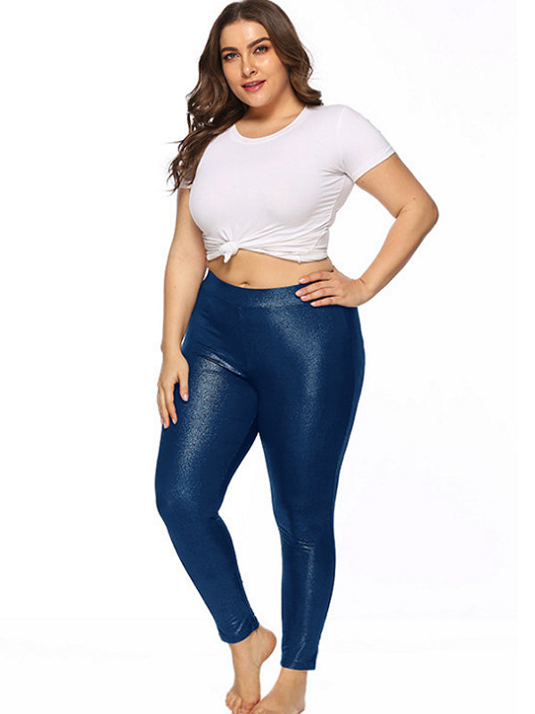 Stretchy Plus Size leggings Solid Color