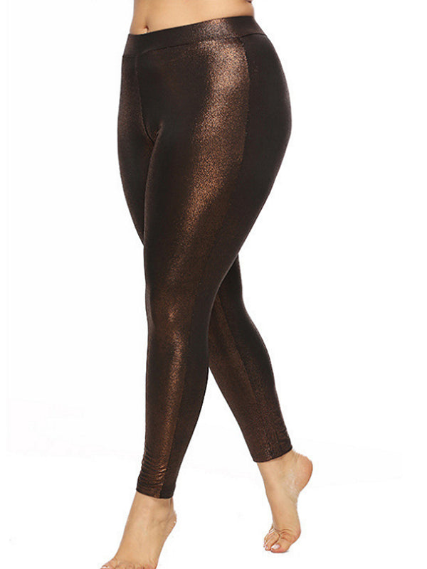 Stretchy Plus Size leggings Solid Color Fashion