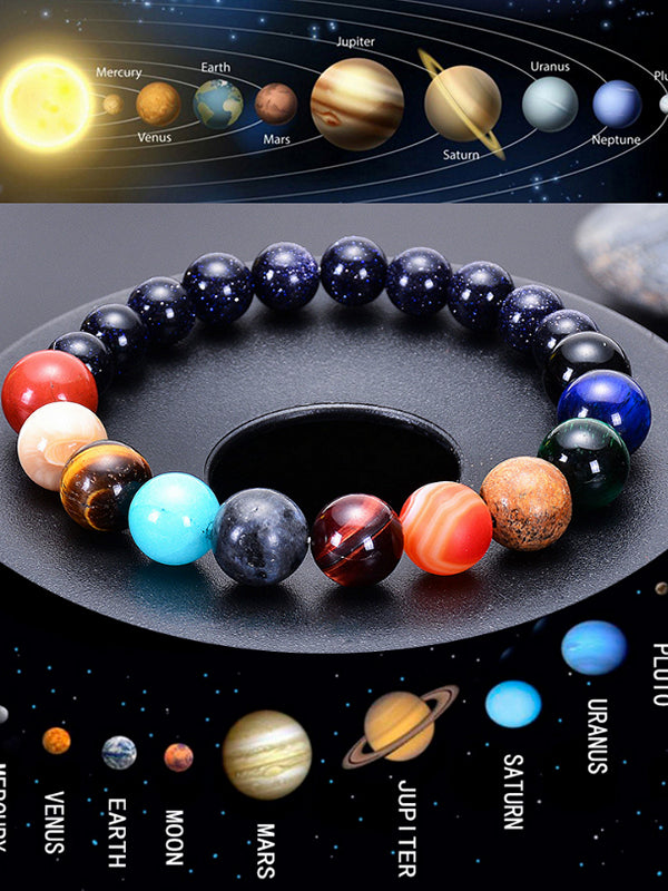 Universe Solar System Bracelet Women Natural Stone Eight Planets