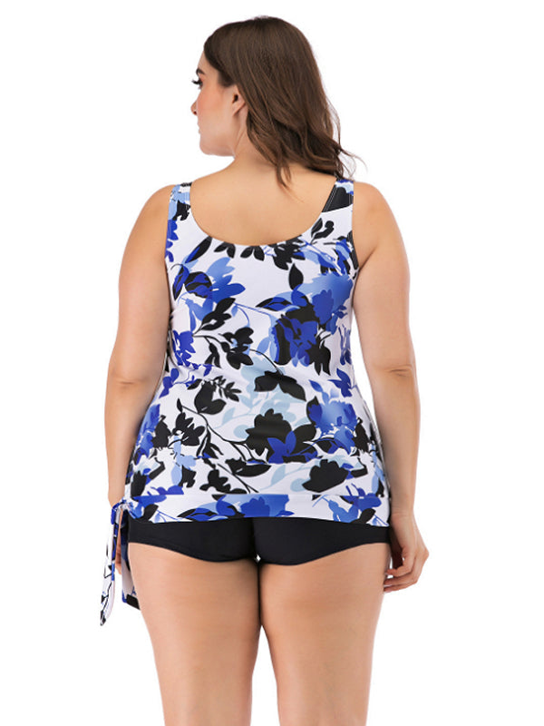 Womens Plus Size Swimsuits Floral Prinit Halter Swimwear One Piece