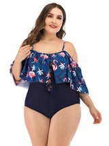 Womens Plus Size Swimsuits Floral Blue Swimwear One Piece L-4XL