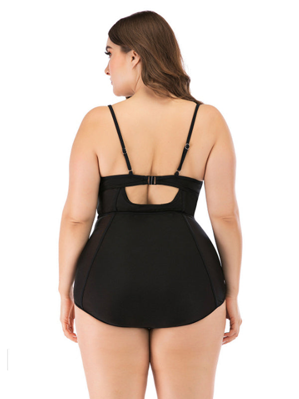 Curve Plus Size Swimsuits Swimwear One Piece L-4XL Red Black