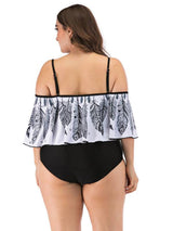 Womens Curve Plus Size Swimsuits One Piece Gray White